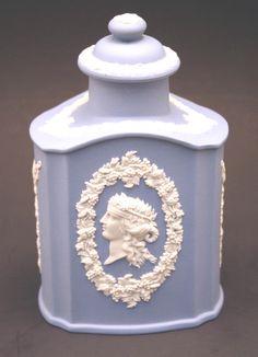 Antique Wedgwood Blue Jasperware Tea Caddy