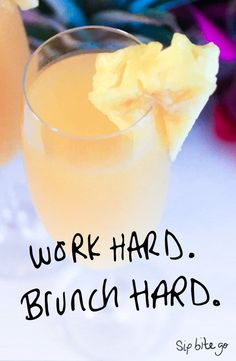 Pineapple mimosa brunch cocktail | Sip Bite Go - Love this simple Pineapple Mimosa recipe. It's my favorite Champagne cocktail for a Brunch Party. Perfect for bridal showers and engagement event menus. Find more brunch party cocktails and menu ideas...