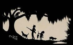 Love this coon hunt silhouette by Carew Rice (1899-1971). He was best known for his silhouettes of the Lowcountry.