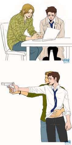 """Hunter lesson by ~glaringstar on deviantART We all know Cas would be like """"Dean I do not understand, why are you touching my vessel."""" And Dean would be like """"Naw dude it's cool."""""""