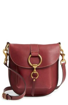 Frye Ilana Leather Saddle Bag Burgundy Bags