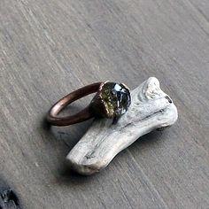 Olivine Quartz Ring Crystal Ring Gemstone Ring by MidwestAlchemy, $75.50