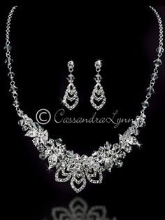 Bridal Jewelry Set of Layered Chevrons and Crystal Beads