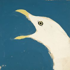 NMN 9: The Herring Gull's World, Niko Tinbergen, 1953  Colour sketch of calling gull, gouache on buff sugar paper
