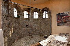 Gorgeous Montana fieldstone shower