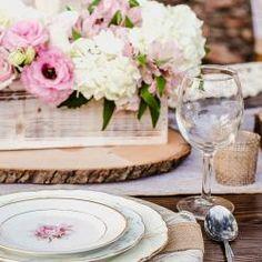 Wood Slab Centerpieces! #KoyalWholesale #fauxwoodchargerplates #woodslab #burlap #wedding #bridalshower #babyshower  #birthday #events