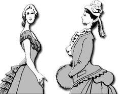 En la moda de 1870 a 1885 el volumen de las faldas se desplaza hacia atrás, por efecto de la tournure y el pouf.