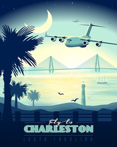 Charleston AFB C-17 vintage aviation artwork exclusively at www.squadronposters.com / vintage airplane poster / airplane artwork / retro military flight prints