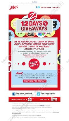 Company:  Zellers   Subject:  12 Days of Giveaways - Exclusive Facebook Contest & Coupon!