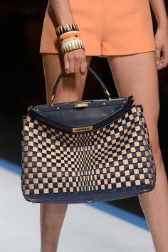 Fendi, S/S 2013  -  I like the Bridget Riley op-art feel of the woven pattern.