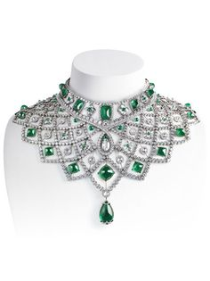 Faberge, the Russian jewelry house plunders its archives once again for a striking white gold, diamond and emerald necklace, inspired by an original design from 1885.