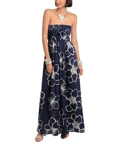 Another great find on #zulily! Blue Floral Strapless Maxi Dress by Ami Sanzuri #zulilyfinds