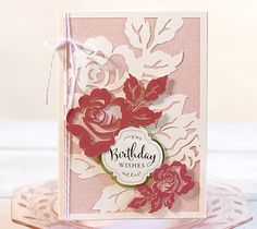 Garden rose birthday card by Anna Griffin. Make It Now with the Cricut Explore machine in Cricut Design Space.
