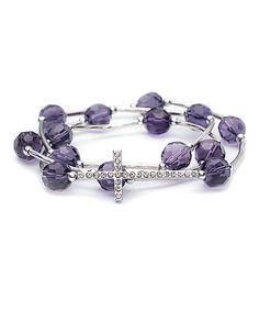 Loving this Amethyst Crystal & Silvertone Cross Stretch Wrap Bracelet on #zulily! #zulilyfinds