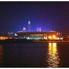 Cleveland Browns Stadium at night