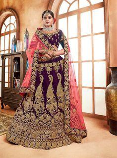 Wine lehenga choli with dupatta. Work - Heavy embroidery work on lehenga, choli and dupatta. Matching choli and dupatta comes with this. Heavy Lehenga, Anarkali Lehenga, Bridal Lehenga Choli, Ghagra Choli, Choli Designs, Lehenga Designs, Indian Bridal Wear, Indian Wedding Outfits, Fancy Party