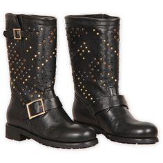 Jimmy Choo Black Leather Studded Biker Boots ($1,470)