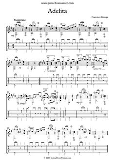 """Adelita - Mazurka"""" for Classical Guitar by Francisco Tarrega. Classical Guitar Sheet Music, Guitar Tabs Acoustic, Music Tabs, Fingerstyle Guitar, Guitar Lessons, Scores, Ariel, Exotic, Blues"""