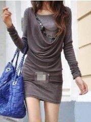 Casual Round Neck Long Sleeve Velvet Knitted-dress