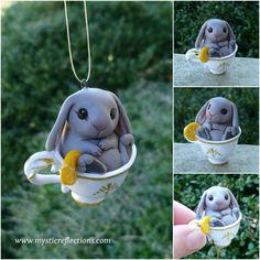 handmade one of a kind polymer clay Teacup Rabbit ornament by Mystic Reflections