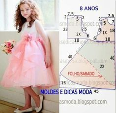 molde de vestidos infantil para 8 anos