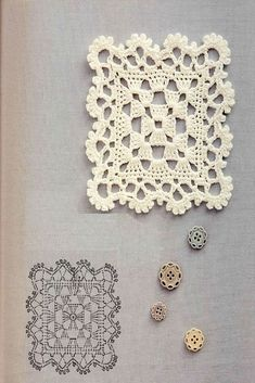 """Lacy Thread Crochet Granny Square w/Chart /;) """"Crochet Lacy Granny Square with free schema"""", """"Beautiful Crochet Square and Edging -- this is Crochet Diy, Filet Crochet, Beau Crochet, Thread Crochet, Love Crochet, Beautiful Crochet, Crochet Crafts, Irish Crochet, Crochet Ornaments"""