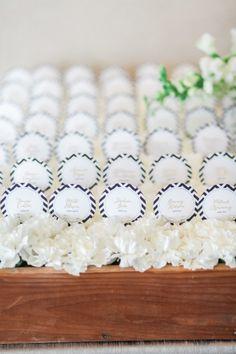 A bed of escort cards: http://www.stylemepretty.com/california-weddings/santa-barbara/2015/06/12/elegantly-cool-santa-barbara-wedding/ | Photography: B. Schwartz - http://www.bschwartzphotography.com/