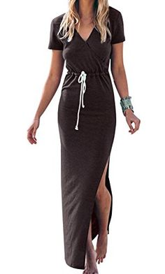 Oyanus Womens Casual V Neck Side Split Drawstring Beach Long Bodycon Dress Chocolate S ** Continue to the product at the image link.