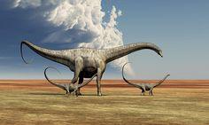 Title: Mother Diplodocus Dinosaur Walks    Artist: Corey Ford    Medium: Digital Art - Illustration