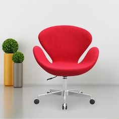 Fine Mod Imports Swan Chair Fabric with Casters Desk Chair Target, Swan Chair, Ikea Dining, Pedicure Chairs For Sale, Leather Recliner Chair, Swivel Chair, Small Living Room Design, Cafe Chairs, Desk Chairs