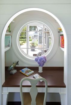 Arched Desk Nook with Window to Exterior. #light