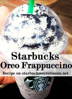Starbucks Secret Menu Oreo Frappuccino! Recipe here: http://starbuckssecretmenu.net/starbucks-secret-menu-cookies-and-cream-frappuccino/