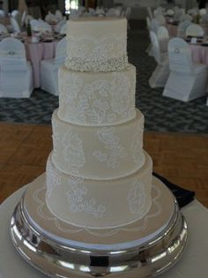Lace Wedding Cake.  Lana's Dough Delights, specializing in custom cakes, cupcakes and cookies.