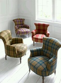 Tartan Armchairs - Ideas on Foter Tartan Chair, Tartan Decor, Tartan Fabric, Poltrona Vintage, Take A Seat, Upholstered Chairs, Sofa Chair, Wingback Chairs, Country Decor