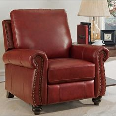 Darby Home Co Adriano Leather Manual Recliner Upholstery: Recliner With Ottoman, Glider And Ottoman, Leather Recliner Chair, Swivel Recliner, Leather Sofa, Wall Hugger Recliners, Reclining Sofa, Seat Cushions, Furniture