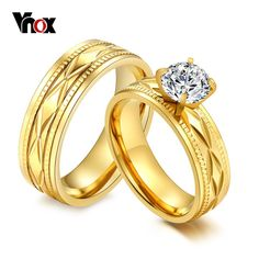Gold-Color Alliance Ring Quality Stainless Steel Cubic Zirconia Wedding Engagement Ring Men and Women Love Ring Crystal Engagement Rings, Engagement Rings Couple, Couple Rings, Engagement Jewelry, Wedding Engagement, Indian Engagement, Big Wedding Rings, Matching Wedding Bands, Wedding Rings For Women