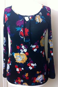 New - Womens SOUTH Black Multi Colour Floral Print Long Sleeve Top UK Size 12