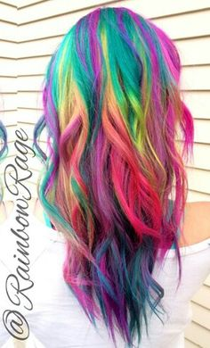 Rainbow dyed hair Rainbow dyed hair Source by . Love Hair, Gorgeous Hair, Rainbow Dyed Hair, Rainbow Hair Colors, Neon Rainbow, Hair Colours, Color Fantasia, Bright Hair, Colorful Hair