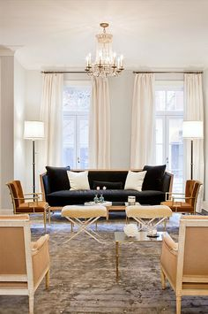 White curtains to the ceiling. Katie Lee Joel's former townhouse, by Nate Berkus