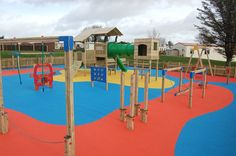 Such a vibrant playground development at Torbant Caravan Park - Woodlander tower system, various Trim Trail items and Wetpour Safety Surfacing.