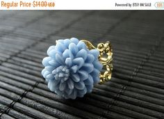 VALENTINE SALE Flower Ring: Baby Blue Mum Ring with Gold Filigree Adjustable Ring Base. Flower Jewelry. Handmade Jewelry. by StumblingOnSainthood from Stumbling On Sainthood. Find it now at http://ift.tt/2jQCMhn!