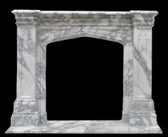 Fireplace Gothic Tudor style in Italian Arabescato marble http://akgoods.com/product/all-fireplace-mantels/gothic-tudor-italian-arabescato-fireplace-mantel/