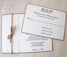 Shabby chic Lace and Twine Wedding Invitation by LoveofCreating, $4.75
