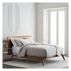 West Elm Arlo Mid-Century Bed- Full, Walnut ($999) ❤ liked on Polyvore featuring home, furniture, beds, mid century bed, walnut wood furniture, west elm beds, walnut bed and mid century platform bed