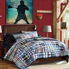 Hampton Classic Bed #pbteen - Bed frame on accent wall.