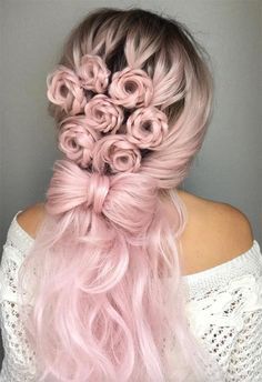 Wedding Hairstyles For Long Hair Long Hair Braids: Braided Hairstyles for Long Hair: Floral Braided Semi Updo - Braids for long hair are the perfect way to keep cool. Click through 57 braided hairstyles for long hair to play around with twists Pretty Hairstyles, Wedding Hairstyles, Bridesmaid Hairstyles, Rose Hairstyle, Fashion Hairstyles, Hairstyles 2016, Decent Hairstyle, Style Hairstyle, Modern Hairstyles