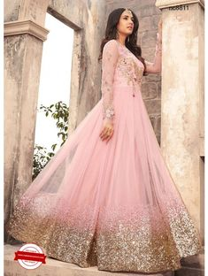 Light Pink Embroidered Net Anarkali Suit features a beautiful net top alongside a santoon bottom and inner. A chiffon dupatta completes the look. Embroidery work is completed with zari, thread, and stone. Bridal Anarkali Suits, Pakistani Bridal Dresses, Bridal Lehenga, Anarkali Lehenga, Designer Anarkali Dresses, Designer Dresses, Designer Wedding Gowns, Mode Bollywood, Bollywood Saree