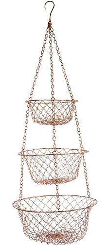 Hanging Three Tiered Decorator Design Copper Basket. Kitchen ...