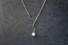Dainty pearl pendant sterling silver chain Necklace  by Ringostone, $17.00