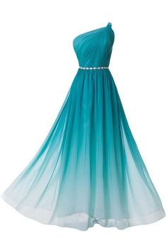 Gradient Floor Length Chiffon Evening Dress Featuring Ruched One Shoulder Bodice with Beaded Embellished Belt